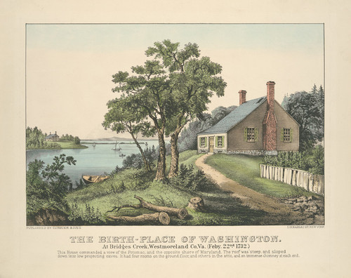 Art Prints of Birth Place of Washington at Bridges Creek, Virginia by Currier & Ives