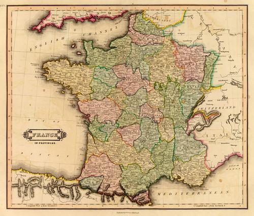 Map Of France Provinces.Art Prints Of France Provinces 1831 By Daniel Lizars
