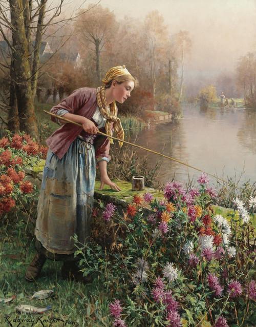 Art Prints of Brittany Girl Fishing by Daniel Ridgway Knight