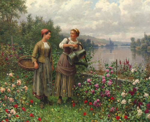 Art Prints of Madeleine and Maria on the Terrace by Daniel Ridgway Knight