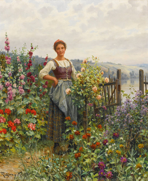 Art Prints of Tending the Flowers by Daniel Ridgway Knight