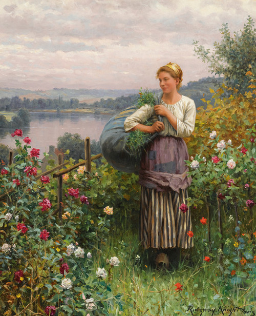 Art Prints of The Rose Garden by Daniel Ridgway Knight