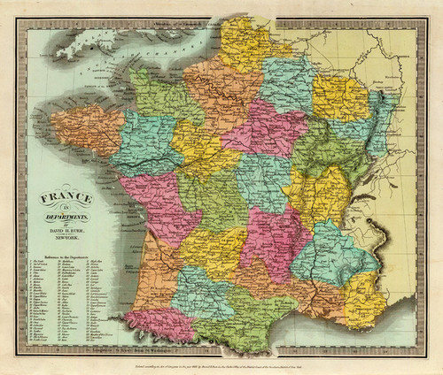 Art Prints of France in Departments, 1835 (4628009) by David H. Burr