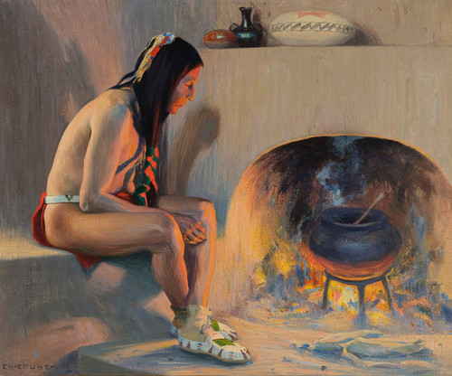 Art Prints of A Pueblo Fireplace, 1917 by Eanger Irving Couse