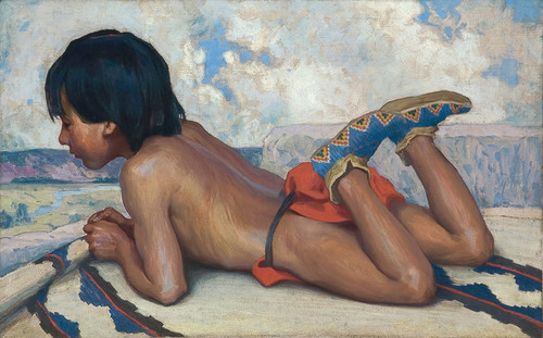 Art Prints of Indian Boy on a Hilltop by Eanger Irving Couse