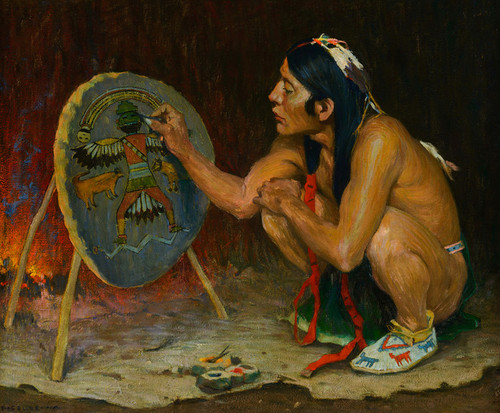 Art Prints of Decorating the War Shield by Eanger Irving Couse