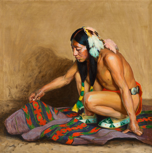 Art Prints of Indian Examining a Blanket by Eanger Irving Couse