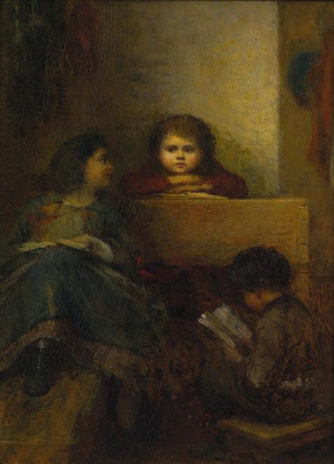 Art Prints of Children Reading by Eastman Johnson