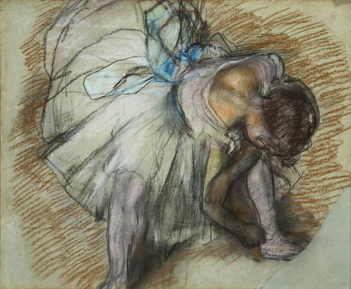 Art Prints of Dancer Adjusting Her Shoe by Edgar Degas