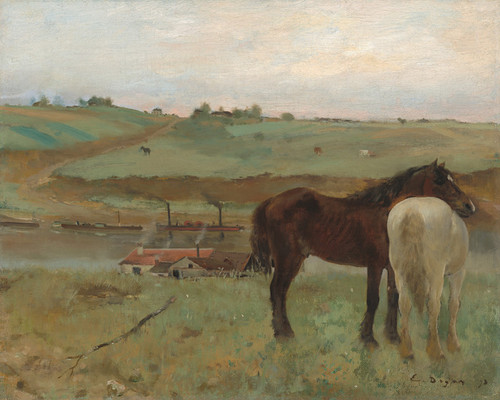 Art Prints of Horses in a Meadow by Edgar Degas