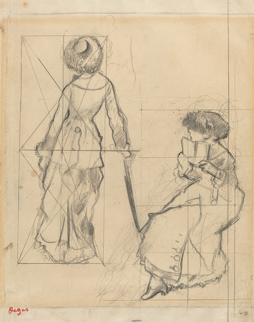 Art Prints of Study for Mary Cassatt at the Louvre by Edgar Degas