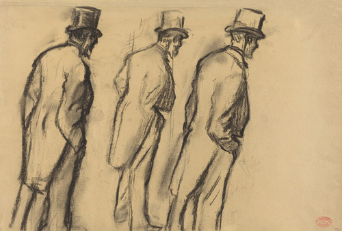 Art Prints of Three Studies of Ludovic Halevy Standing by Edgar Degas