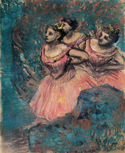 Art Prints of Three Dancers in Red Costume by Edgar Degas