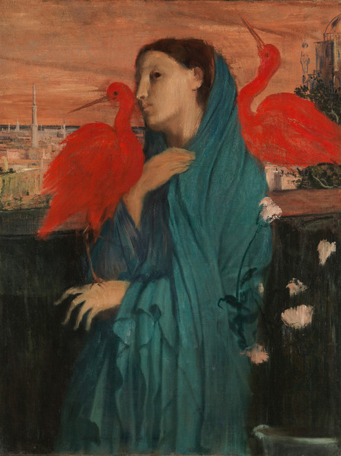 Art Prints of Young Woman with Ibis by Edgar Degas