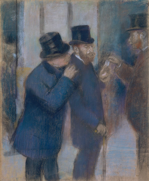 Art Prints of Portraits at the Stock Exchange, pastel by Edgar Degas