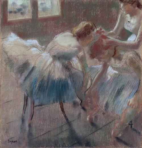 Art Prints of Three Dancers Preparing for Class by Edgar Degas