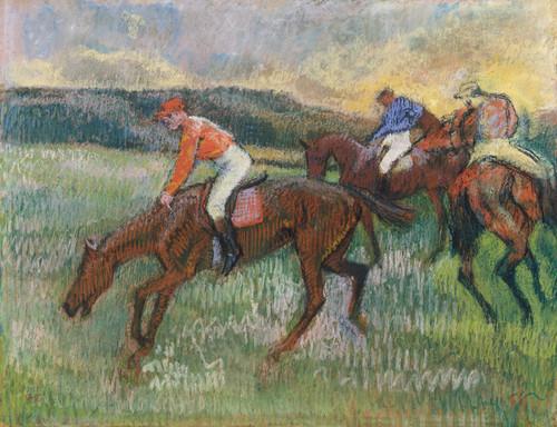 Art Prints of Three Jockeys by Edgar Degas