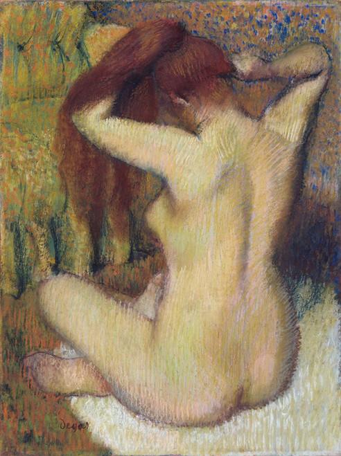 Art Prints of Woman Combing Her Hair by Edgar Degas