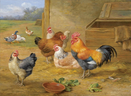 Art Prints of Cockerel and Hen by Edgar Hunt