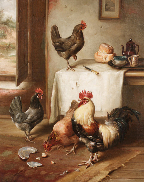 Art Prints of Chickens in a Kitchen by Edgar Hunt