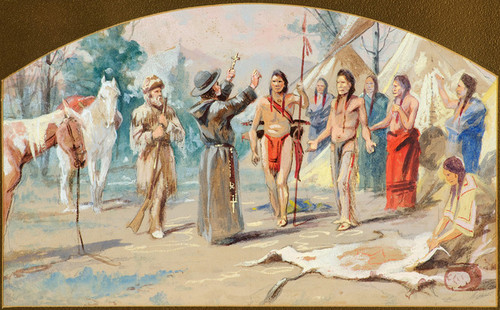 Art Prints of Jesuit Priest and Indians by Edgar Paxson