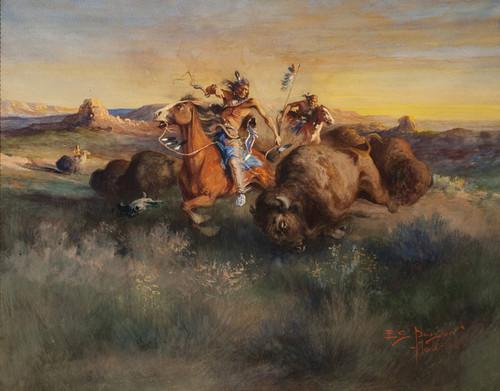 Art Prints of Buffalo Hunt, 1906 by Edgar Paxson
