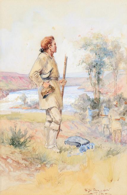 Art Prints of Captain Lewis at Black Eagle Falls by Edgar Samuel Paxson