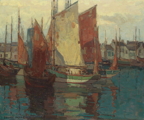 Art Prints of Fishing Boats in the Harbor by Edgar Payne