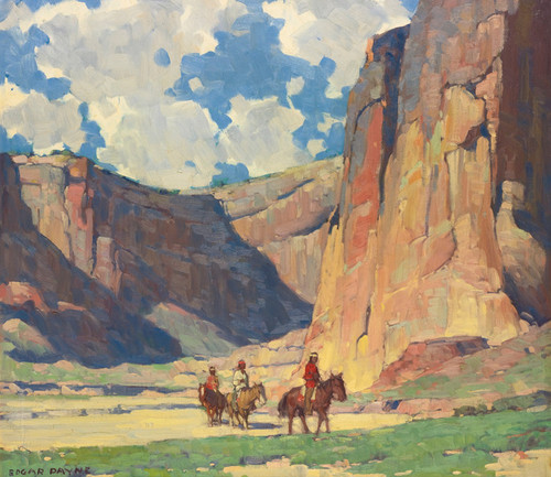 Art Prints of Indians Riding Through the Canyon de Chelly by Edgar Payne