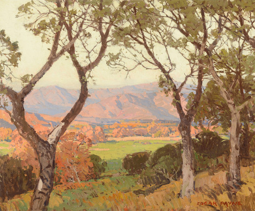 Art Prints of Vista Through the Sycamores Ojai Valley by Edgar Payne