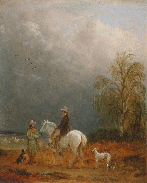 Art Prints of A Traveller and a Shepherd in a Landscape by Edmund Bristow