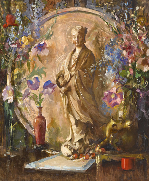 Art Prints of Still Life with Flowers and Oriental Statue by Edmund Charles Tarbell