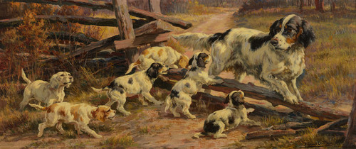 Art Prints of Hunting Dog with Pups by Edmund Henry Osthaus