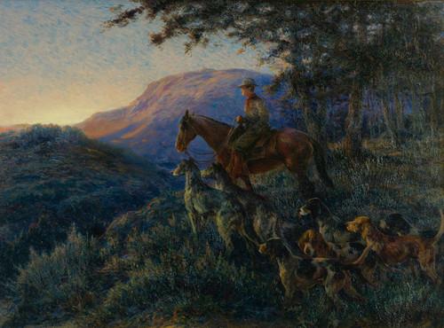 Art Prints of Enjoying Sunset After a Long Days Hunt by Edmund Henry Osthaus
