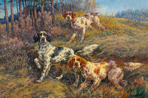 ENGLISH SETTER WINE 8x10  art PRINT dog animals impressionism