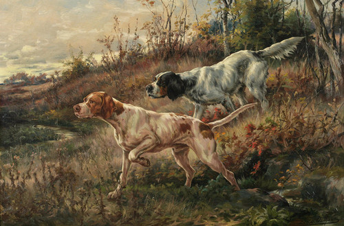 Art Prints of Pointer and Setter on Point by Edmund Henry Osthaus