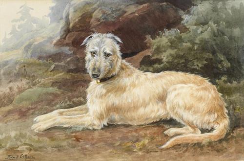 Art Prints of Scottish Deerhound in a Highland Landscape by Edmund Henry Osthaus