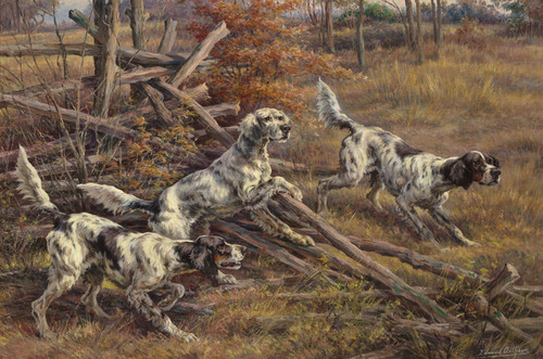Art Prints of Three English Setters Clearing a Fence by Edmund Henry Osthaus