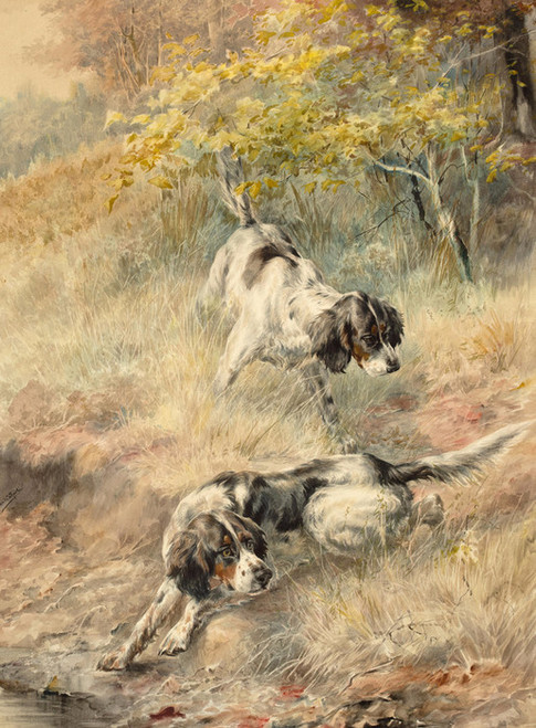 Art Prints of Two English Setters Working a Field by Edmund Henry Osthaus