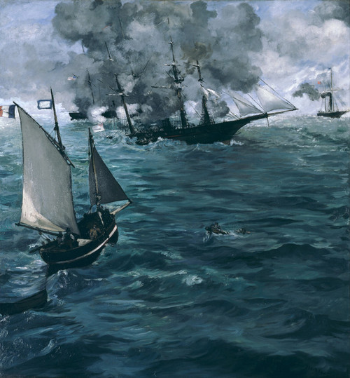 Art Prints of Battle of the U.S.S. Kearsarge and the C.S.S. Alabama by Edouard Manet