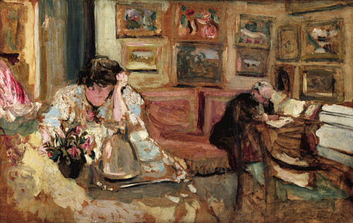 Art Prints of Jos and Lucie Hessel in the Small Salon by Edouard Vuillard