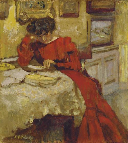 Art Prints of Mrs. Hessel Reading in a Red Dress by Edouard Vuillard