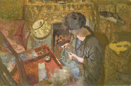 Art Prints of Small Drawing Room, Madame Vuillard at Sewing Table by Edouard Vuillard