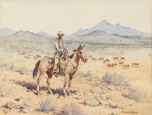 Art Prints of Checking the Herd by Edward Borein