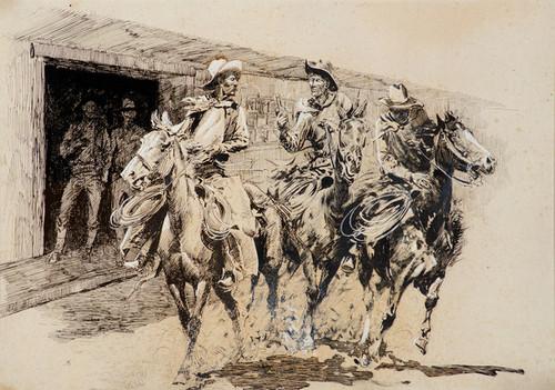 Art Prints of Cowboys Leaving a Saloon by Edward Borein