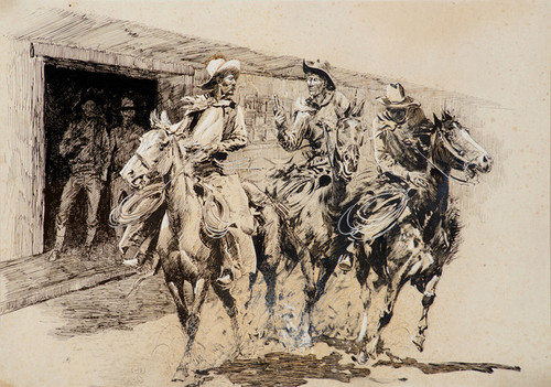 Art Prints of Cowboys Leaving a Saloon by Edward Borein