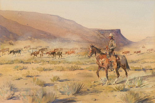 Art Prints of Cowboy Driving Cattle Herd by Edward Borein
