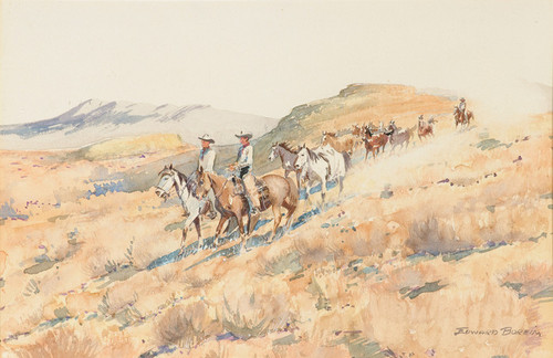 Art Prints of Cowboy with Herd of Horses by Edward Borein