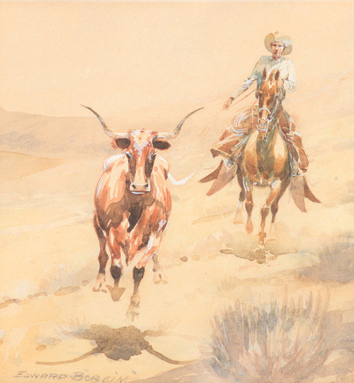 Art Prints of Rounding up a Steer by Edward Borein
