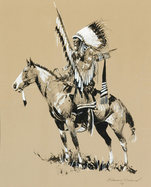 Art Prints of Sioux Warrior, 1914 by Edward Borein